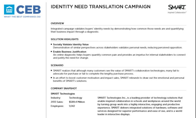 CEB Case study of personal need validation campaign by SMART technologies